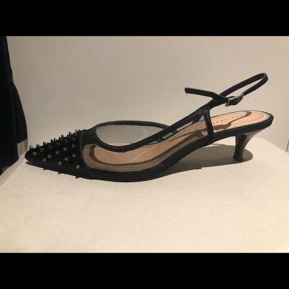 5cb0d48d3a Zara SS19 Studded Mesh Slingback Heels in Black